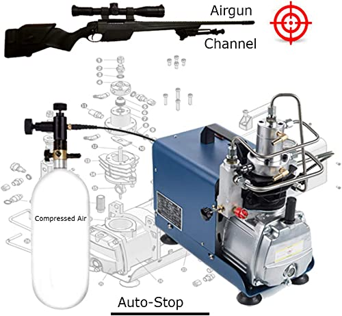 110V Auto-Stop Air Compressor 30MPA 4500PSI 300Bar Electric High Pressure PCP Rifle Refilling Air Pump Water Cooling Airgun