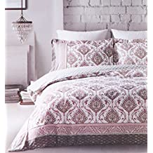 Ethnic Bohemian Tapestry Duvet Cover Oriental Boho Chic Style Reversible Bedding 3pc Set 100-percent Cotton Linen Texture Artsy Hippie Ornate Scroll Print in Burgundy Rose Gold Cream (Queen)