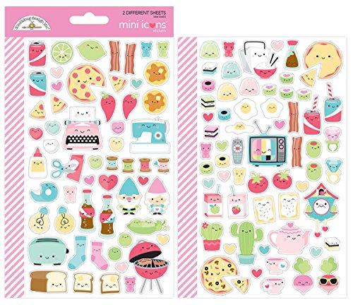 So Punny 5913 So Icons Doodlebug Mini Cardstock Stickers, Multicolor Doodlebug Design Cardstock Stickers