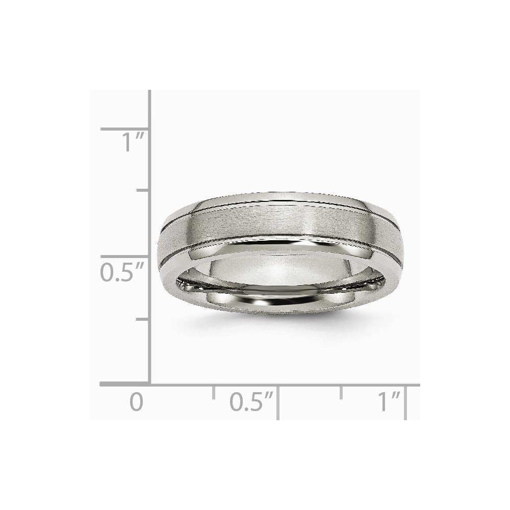 Bridal Titanium Grooved Edge 6mm Brushed and Polished Band
