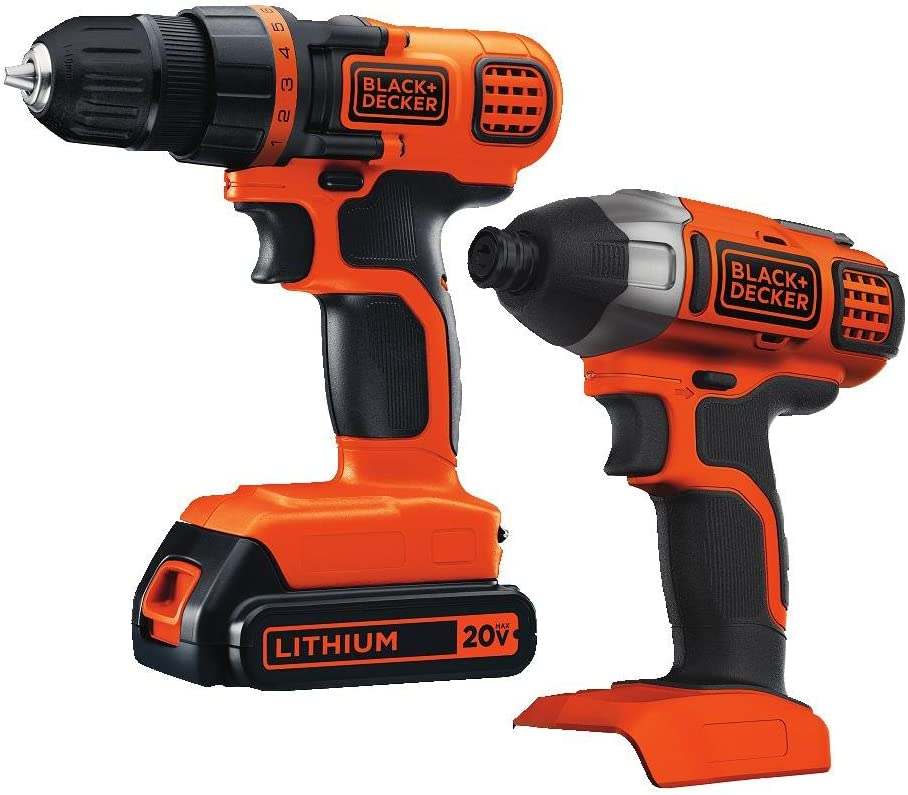 BLACK+DECKER 20V MAX Cordless Drill Combo Kit, 2-Tool (BD2KITCDDI),Black/Orange Impact Combo Kit