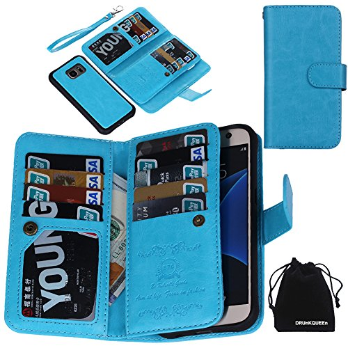 DRUnKQUEEn S7 Case, Premium Leather Credit Card Holder Feature Wallet Type Flip Folio Case - Detachable Magnetic Back Cover with Lanyard Wrist Hand Strap for G930 Samsung Galaxy S7 - Blue