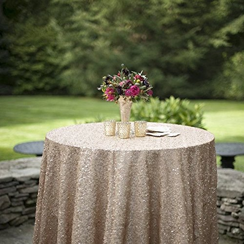 Tabletop Champagne - ShiDianYi 72 Inch Round Champagne SEQUIN TABLECLOTH,Champagne Wedding Tablecloth,Glitter Tablecloth,Champagne Sparkly Tablecloth (Champagne)