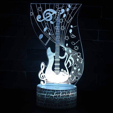 2 PAQUETE, Nueva Lámpara de Guitarra Eléctrica 3D USB Luz Nocturna Colorida Lámpara de Sensor