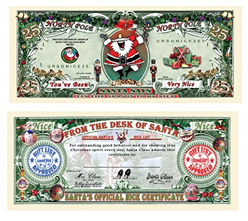 Certificate Day - TheGag 25-Santa's Official Naughty and Nice List Certificates-GIVE ONE OUT EACH DAY DURING CHRISTMAS