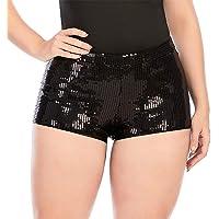 JUST BEHAVIOR Women's Sequin Shimmer Sexy Rave Booty Metallic Shorts