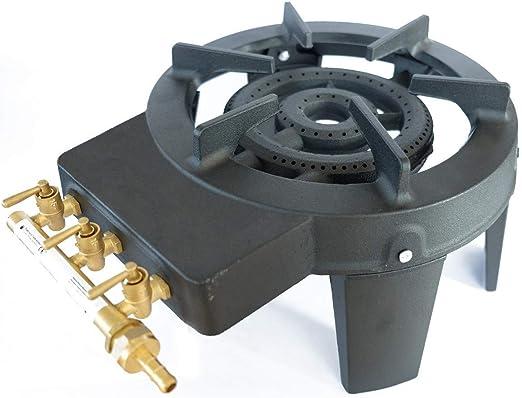 Meva - Hornillo de gas fundido trigalv, 9,8 kW, 4 patas, 3 grifos, potente y estable
