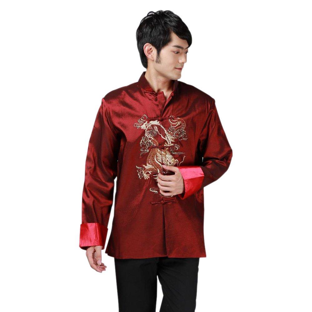 BOZEVON Hommes Brodés Dragon Rétro Vêtements Chinois Kung-fu Veste de Chemise Veste de Tang