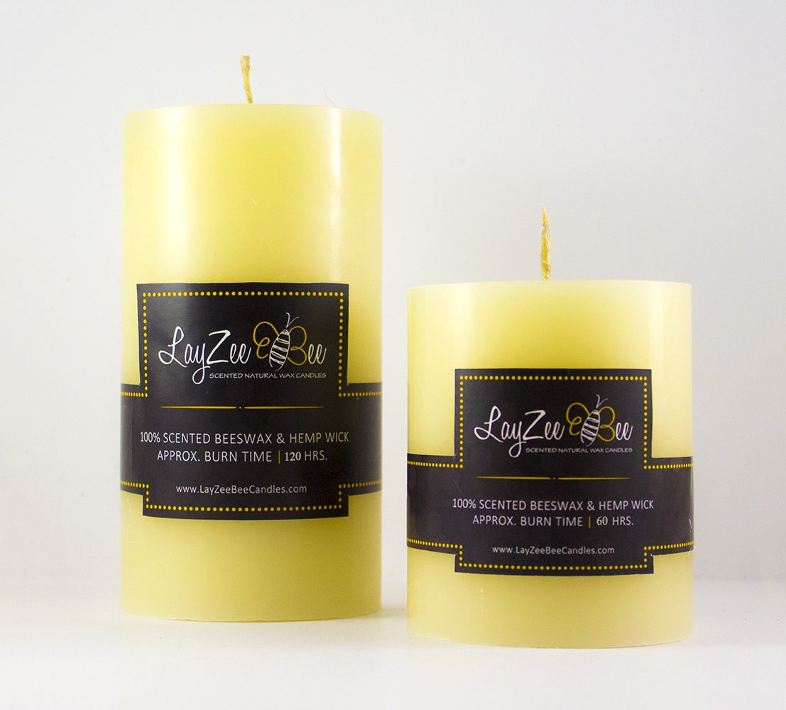 3 & 6 Beeswax Round Pillar Candle (3 x 3) LayZee Bee Candles