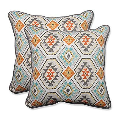 """Pillow Perfect Outdoor/Indoor Eresha Oasis Throw Pillow (Set of 2), 18.5"""" - Includes two (2) outdoor pillows, resists weather and fading in sunlight; Suitable for indoor and outdoor use Plush Fill - 100-percent polyester fiber filling Edges of outdoor pillows are trimmed with matching fabric and cord to sit perfectly on your outdoor patio furniture - patio, outdoor-throw-pillows, outdoor-decor - 61yeg7AzThL. SS400  -"""