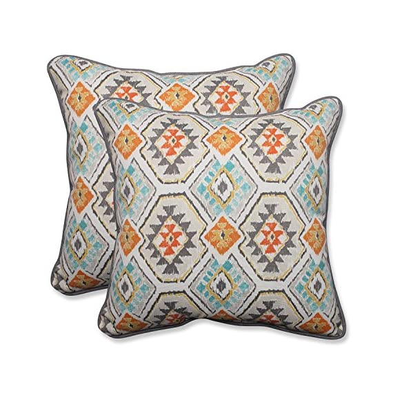 "Pillow Perfect Outdoor/Indoor Eresha Oasis Throw Pillow (Set of 2), 18.5"" - Includes two (2) outdoor pillows, resists weather and fading in sunlight; Suitable for indoor and outdoor use Plush Fill - 100-percent polyester fiber filling Edges of outdoor pillows are trimmed with matching fabric and cord to sit perfectly on your outdoor patio furniture - patio, outdoor-throw-pillows, outdoor-decor - 61yeg7AzThL. SS570  -"