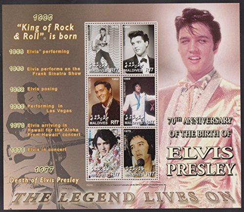 Maldives Elvis Presley 70th Anniversary Collectible Postage Stamps 2870