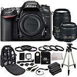 Nikon D7200 DX-format DSLR w/ Nikon 18-55mm f/3.5-5.6G VR II AF-S DX NIKKOR Zoom Lens + Nikon 55-300mm f/4.5-5.6G ED VR AF-S DX Nikkor Zoom Lens (Black) + 32GB Bundle 22PC Accessory Kit