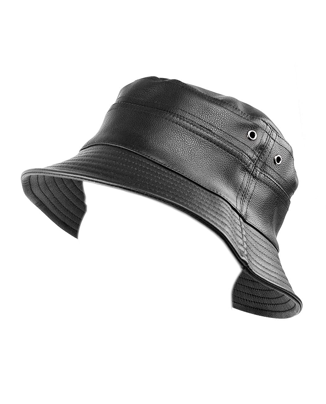 5621f6f1fd4 City Hunter Solid Color Lightweight Comfortable Crushable PU Leather Bucket  Hat  Amazon.co.uk  Clothing