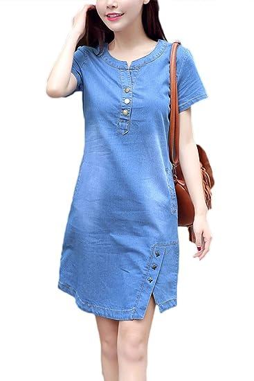 Sopliagon Women Denim Dress Short Sleeve Plus Size Mini ...