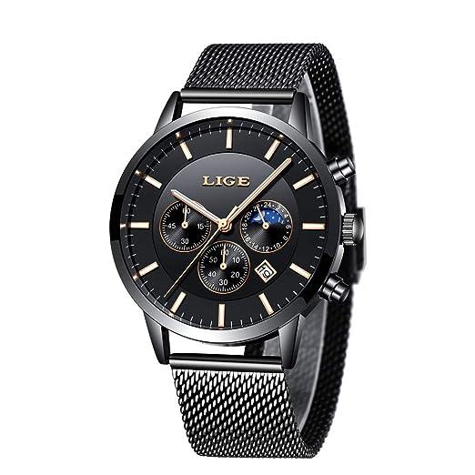Relojes para Hombre de Acero Inoxidable Correa de Malla de Metal analógico de Cuarzo Calendario Fecha Impermeable multifunción Negro Reloj con Caja: ...