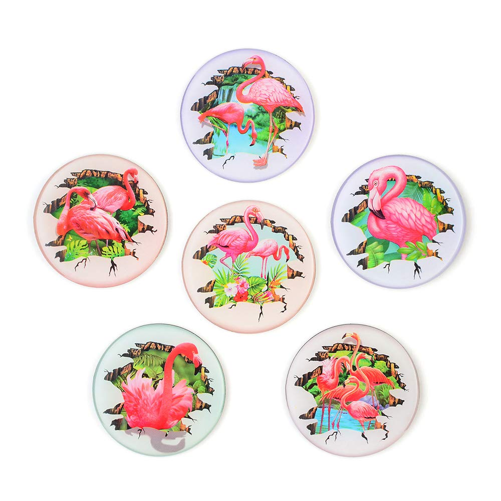 Morcart Refrigerator Magnets 3D Flamingo Magnets 6-Sets Suitable Microwave Oven Office Supplies Holiday Gifts Student Locker Coffee Shop Menu Message Board