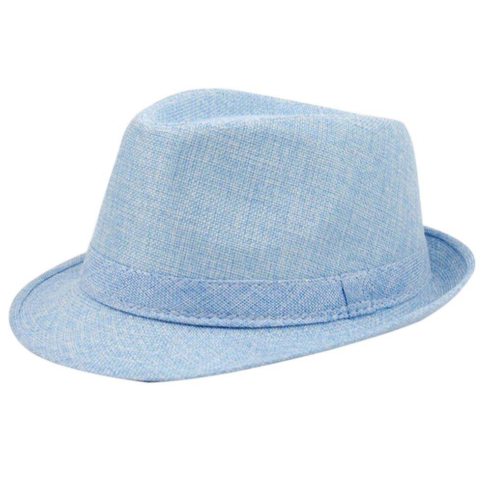 Bluelans® Strohhut Panama Fedora Trilby Gangster Hut Sonnenhut mit Stoffband