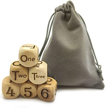 Hometu 6 PCS//Set 20MM Wooden Dice Laser Engraving English Pattern Wood Game Dice Set Party Dices Rolling Decider