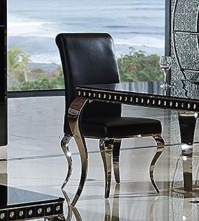 Esszimmerstuhl Luca Barock Design Kunstleder Schwarz Stuhl Stühle Esszimmer  Esszimmerstühle Rokoko