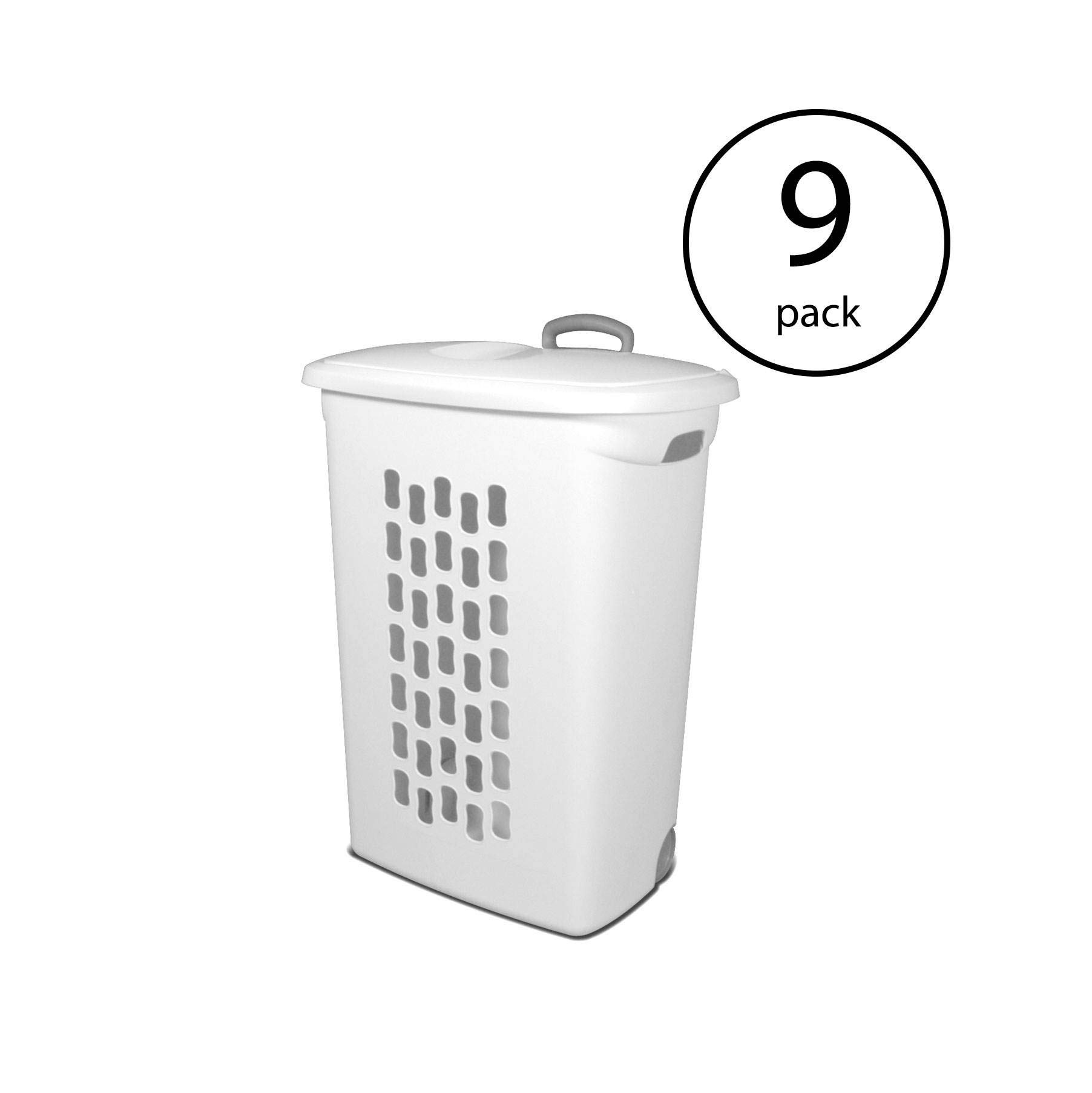 STERILITE White Laundry Hamper with Lift-Top, Wheels, and Pull Handle | 12228003 (9 Pack) by STERILITE