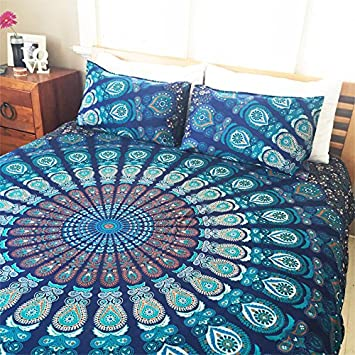 Indian Cotton Mandala Double King Size Bed Quilt Duvet Doona Cover Blanket  Boho By Handloom House