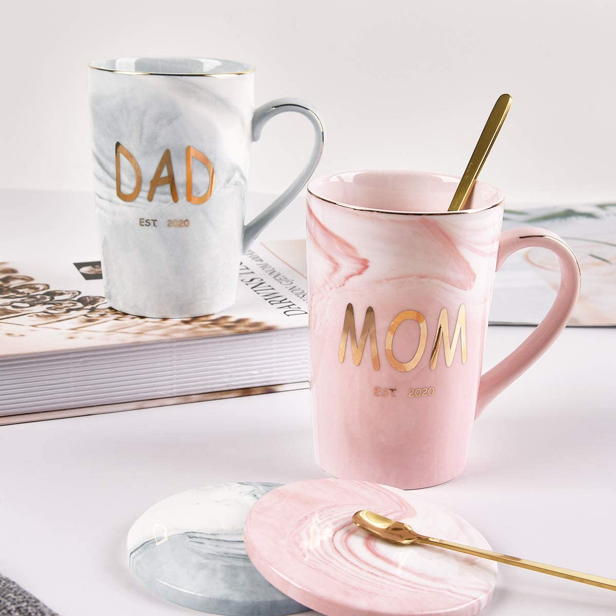 Mother Father Ceramic Mugs Cups from Daughter Son 15oz New Mom and Dad Gifts New Parents Gifts White Cedilis Mom and Dad Coffee Mug Set Exquisite Box Package with Spoons for Christmas
