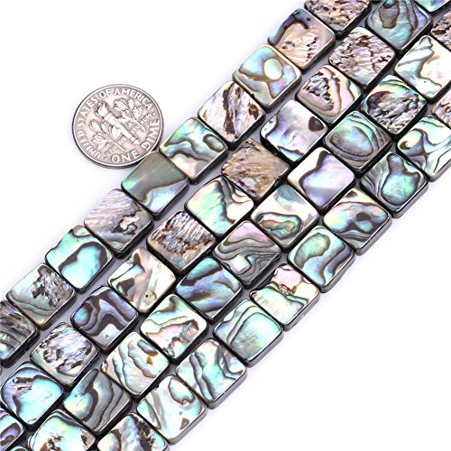 SHG Store 10mm Square Natural Abalone Shell Beads Strand 15