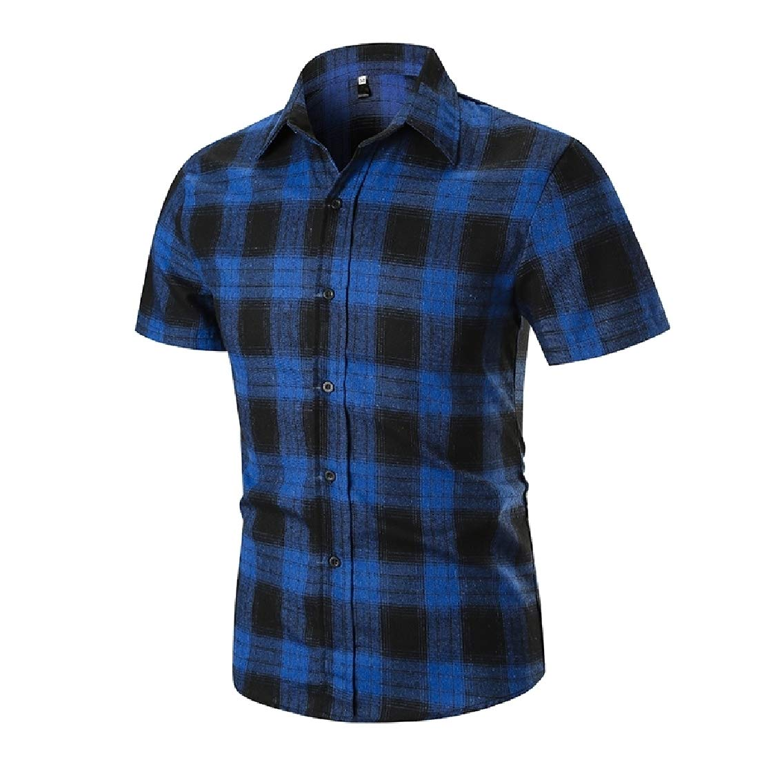 Vska Mens Short-Sleeve Plaid Summer Turn Down Collar Button Down Shirt