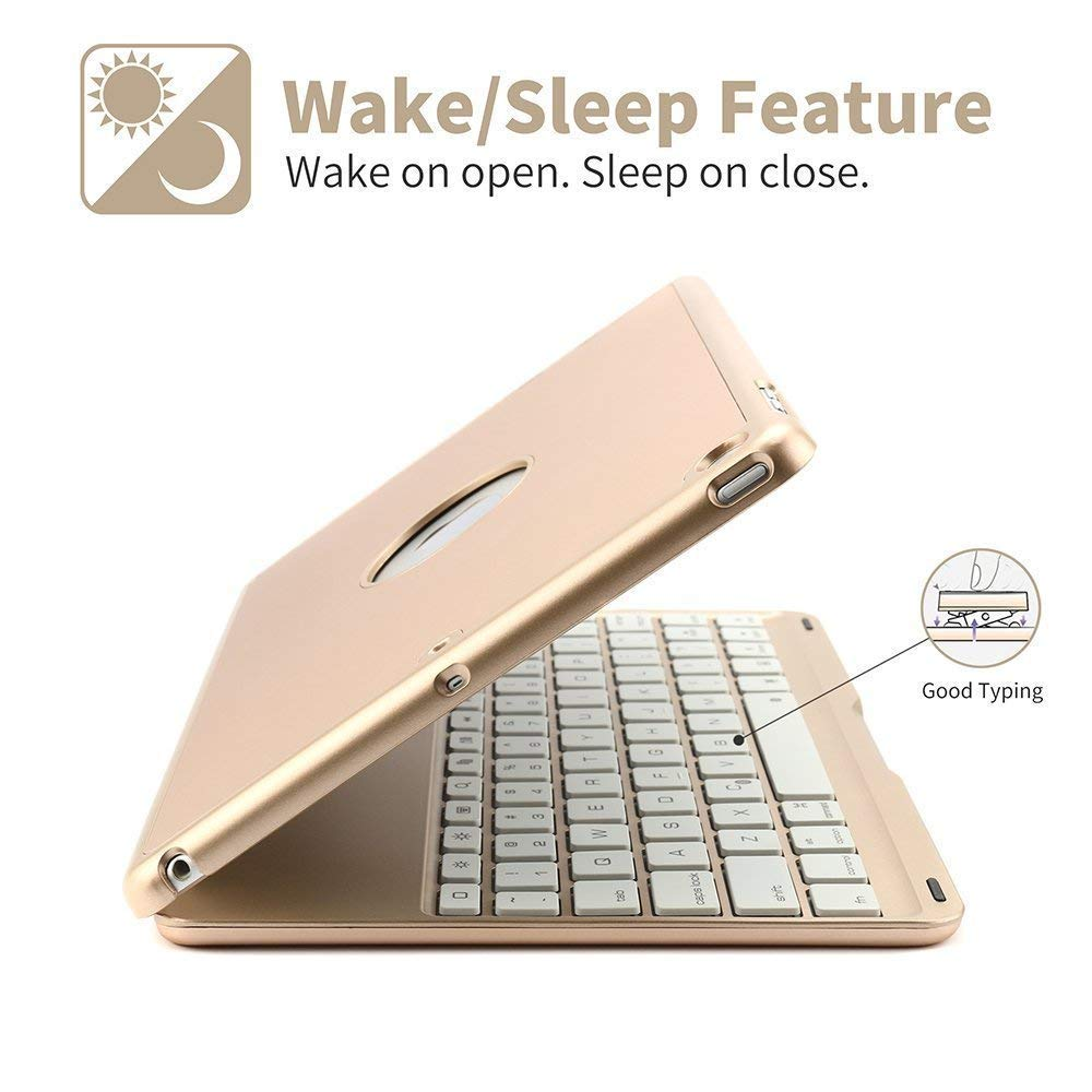 air 3 iPad 10.5'' 2019 Keyboard Cover, MeiLiio 7 Color Aluminum Backlit Wireless Bluetooth Keyboard Case with Folio Slim Keyboard Case for iPad Air 3 10.5 Inch 2019 release/iPad Pro 10.5,Gold