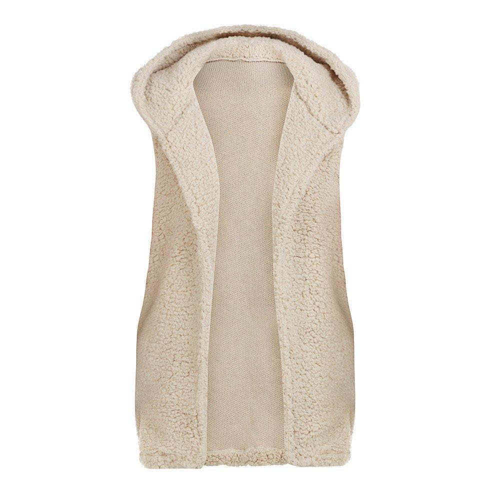 Kehen New Womens Waistcoat Faux Fur Lapel Open Front Sleeveless Vest Woolen Cardigan Outwear Casual Coat with Pockets