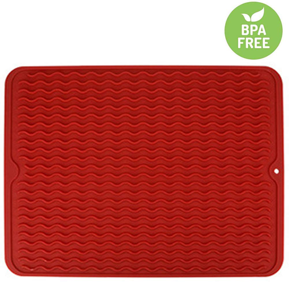 VARUN Silicon Dish Drying Mats, Non-Slip & Heat Resistant Trivet,Durable Kitchen Drainer pad,Eco-Friendly and BPA Free, Dishwasher Safe, Red Large16'' X 12''
