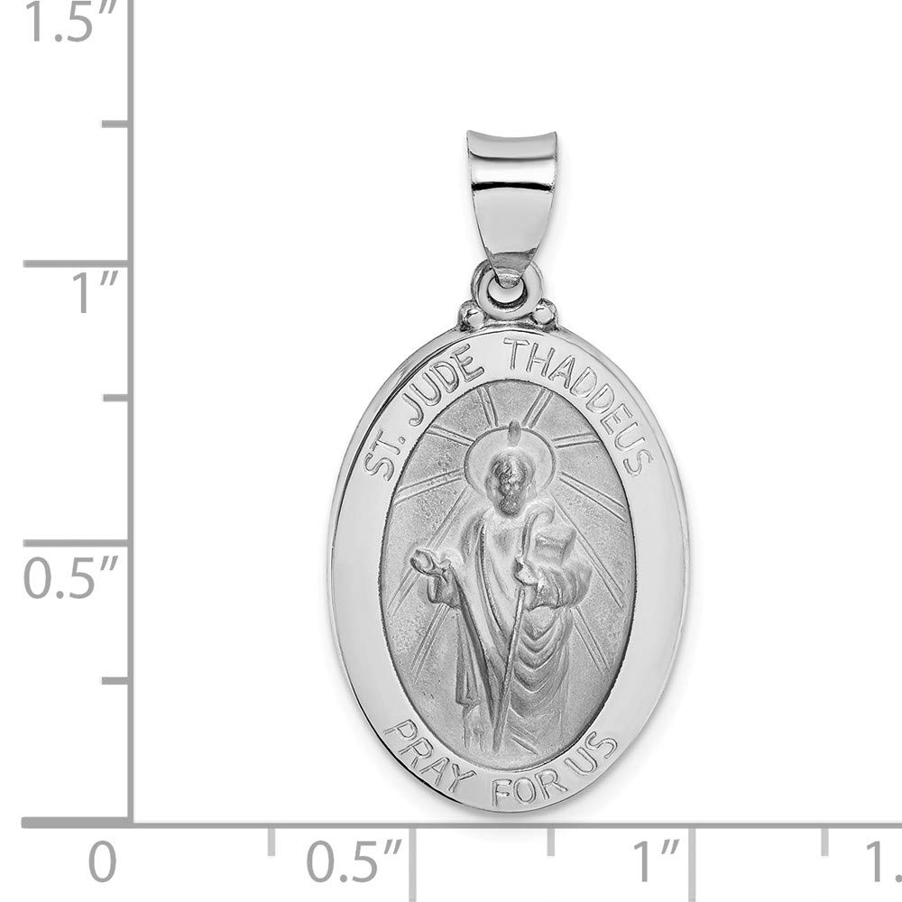 Jude Thaddeus Medal Pendant 1.36g 14k Gold Polished and Satin St