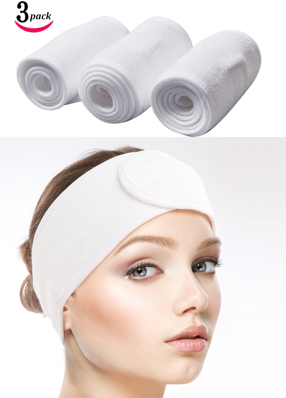 Sinland Facial Spa Headband For Washing Makeup Cosmetic Shower Soft Women Hair Band With Velcro Design Pack of 3