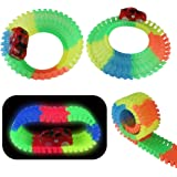 Tonze Pista Coches Juguetes Circuito Coches Pistas Flexibles Con 2
