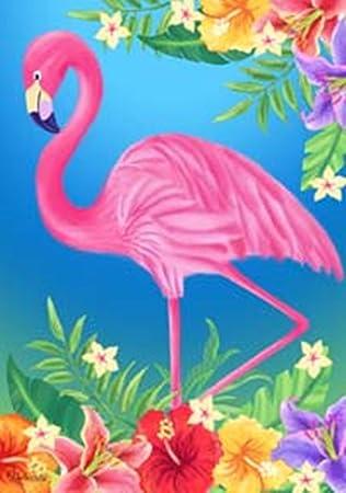 Amazoncom Tropical Floral Pink Flamingo Garden Flag Banner