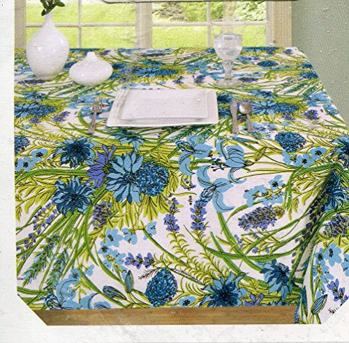 (Vera Neumann Fabric Tablecloth Lillies Blue and Purple Floral Print on White Oblong 60-by-120 Inches)