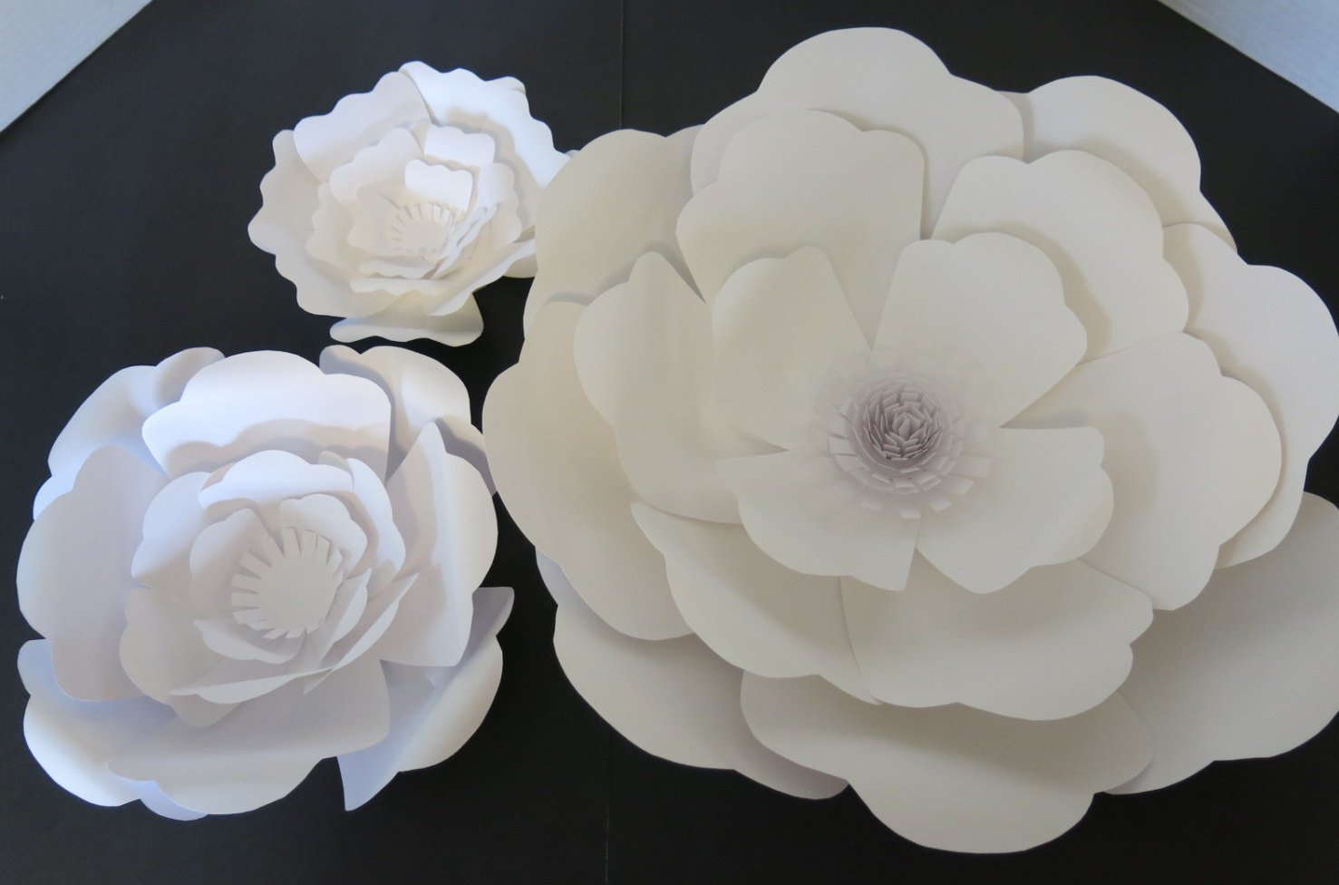 Giant Paper Flowers, Rose Wedding Photography Background, Bridal Shower Photo Backdrop, Extra Large Wall Flowers, Baby Nursery Floral Decor, Popular Home Decor Trend, Arch Cover 6-16'' Blooms, Set of 3 by Always In Blossom