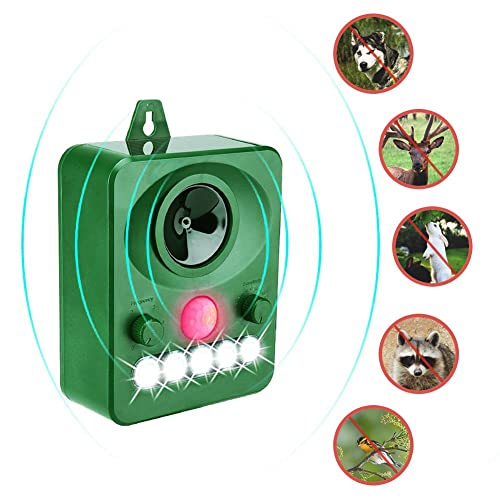 Cat repellent, Surenhap Ultrasonic Animal Repeller, Solar Powered repellent, Activated with Motion, Ultrasonic and Flashing LED lights Outdoor Waterproof repellent for Dogs, Cats, Foxes, Mice, Birds, Skunks