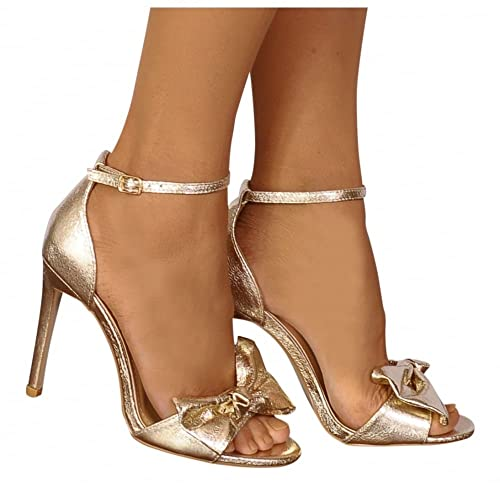 db4373c486a3 Shoe Closet Ladies Gold Metallic Bows Barely There Strappy Sandals High  Heels UK7 EURO40