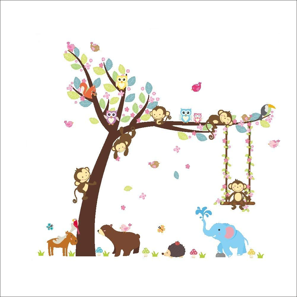 Amaonm Fashion Cartoon Tree with Animals Owls Birds Wall Decals Monkey Swing in The Tree Wall Sticker DIY Home Wall Decor for Children Girls Room Bedroom Kids Nursery Living Room Playroom Classroom