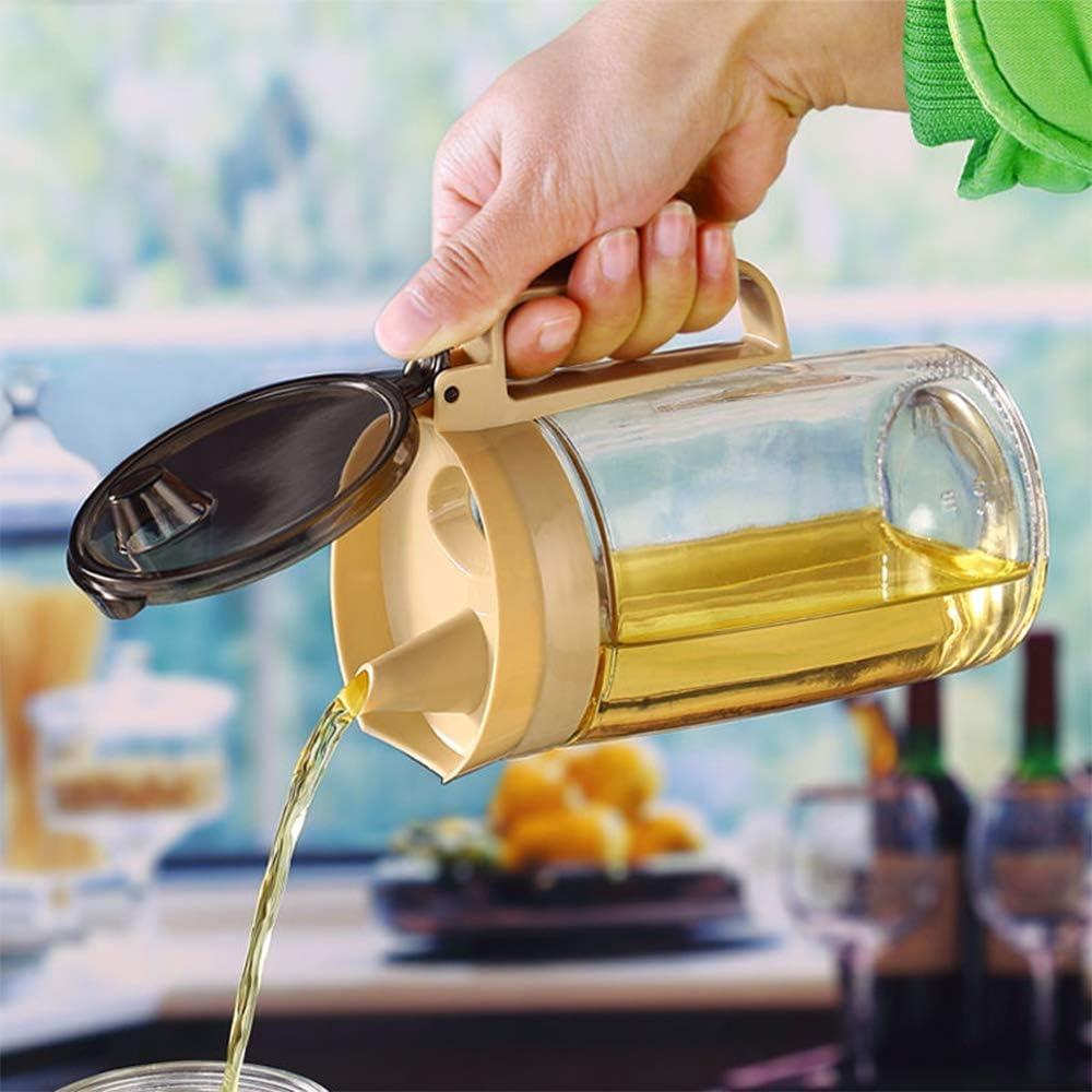 Contiup Flacone versatore dolio con Tappo Protettivo Dispenser di Olio e aceto Beige 1pz Dispenser di sciroppo dAcero Oliatore di Bottiglie di Vetro Oliatore di Gocce Versare beccuccio 220oz