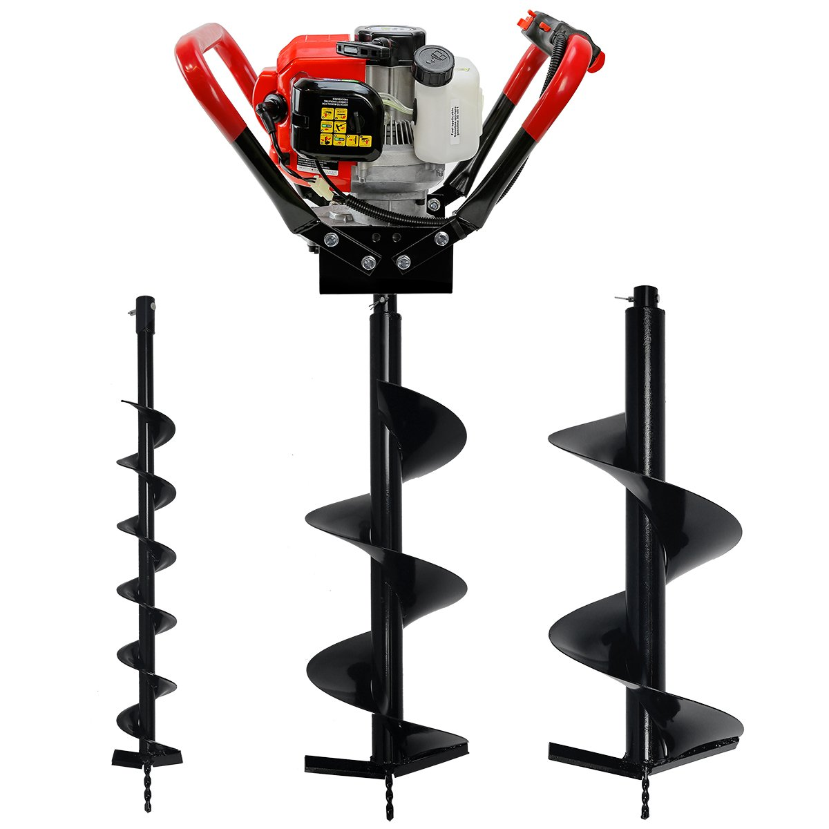 V-Type 55CC 2 Stroke Gas Posthole Digger One Man Auger (Digger + 4 10 12Bits) XtremepowerUS