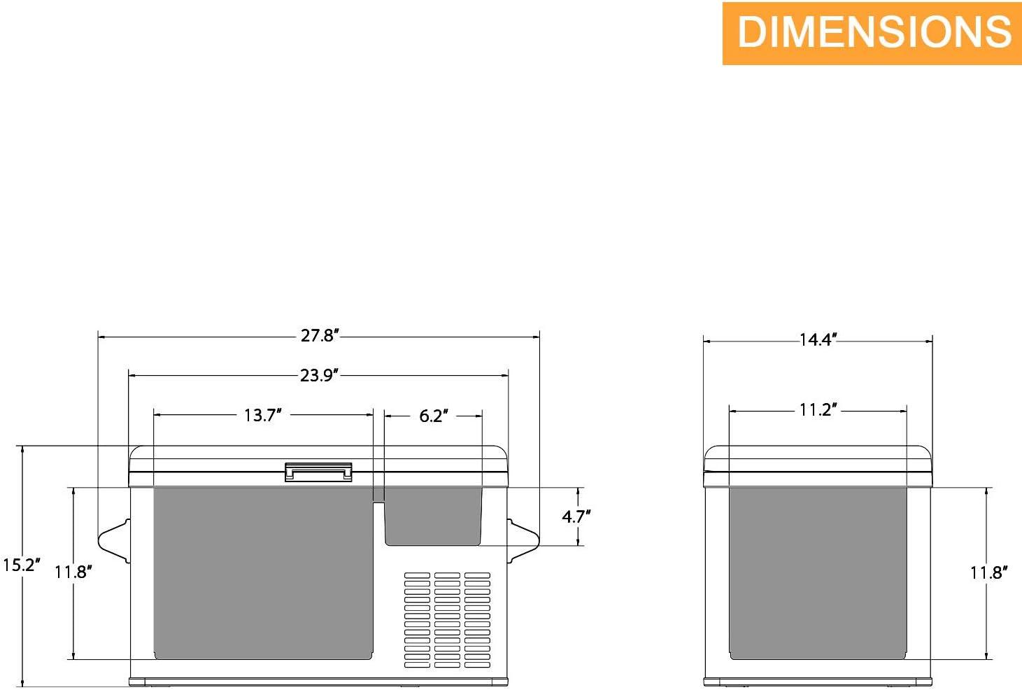 Aspenora 37-Quart Portable Fridge Freezer 12V Car Refrigerator Car Fridge with Compressor Touch Screen for Vehicle Truck RV Camping Travel Outdoor Driving 37-Quart -4℉ ~ 68℉ 12//24V DC and 110V AC