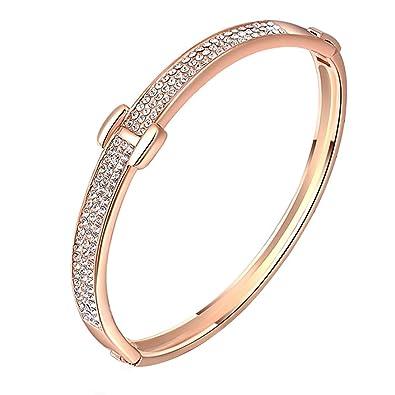 joyliveCY Elegant Hand Chain Charm Bracelet Women's Jewelry Plated Bling 18K Rose Gold Special H Shaped LVpfr