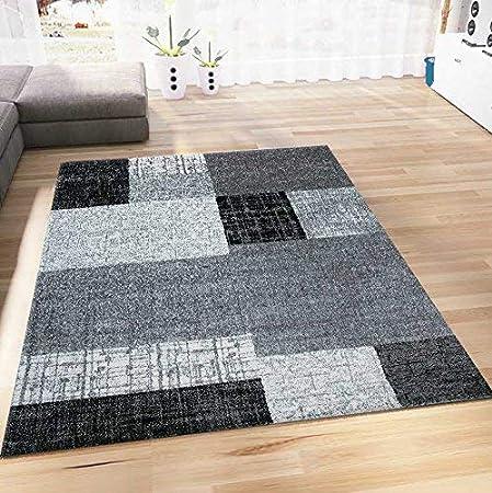 Teppich Wohnzimmer Kurzflor Designer Teppiche in Schwarz Grau Weiß ...
