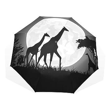 EZIOLY - Paraguas de Viaje con diseño de Jirafa con Luna Gigante, Ligero, Anti