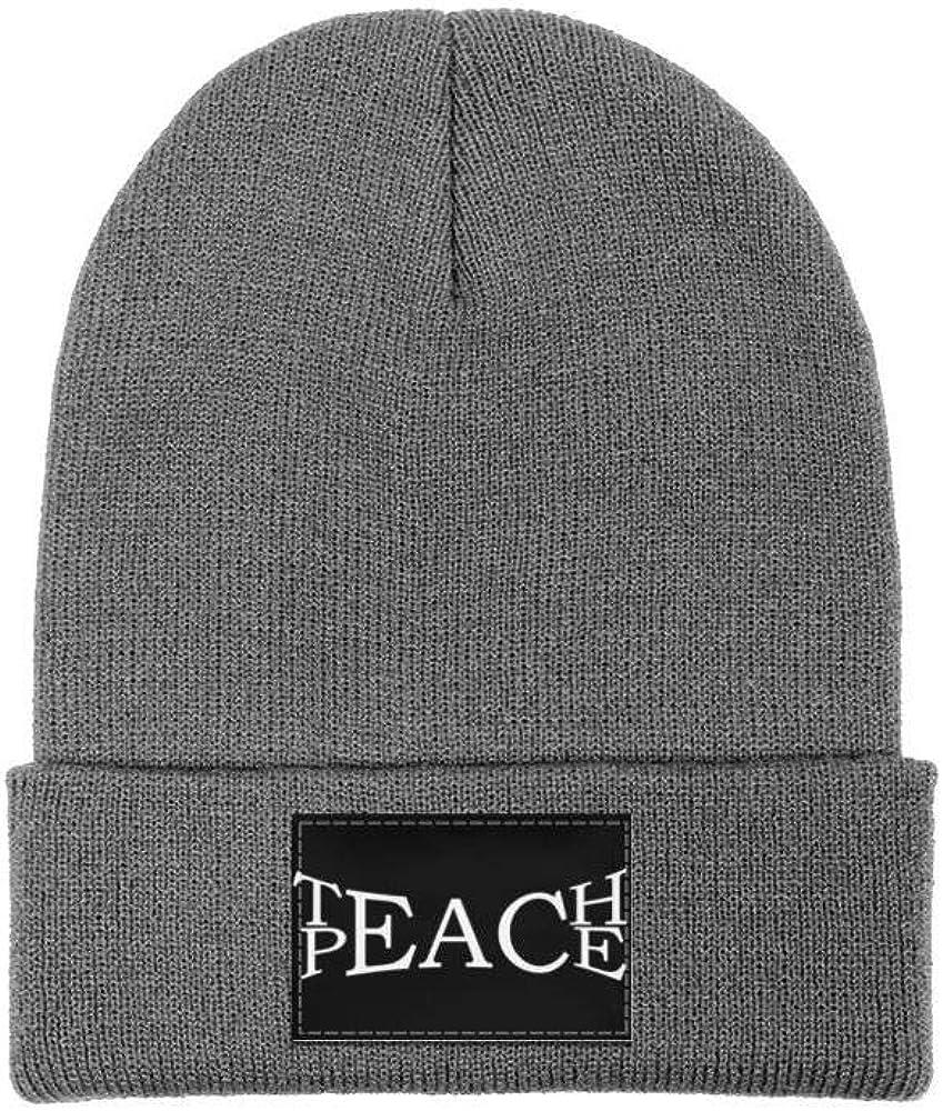 ZYNEW Teach Peace Mens Women Winter Hat Warm Woolen Sport Skull Cap One Size