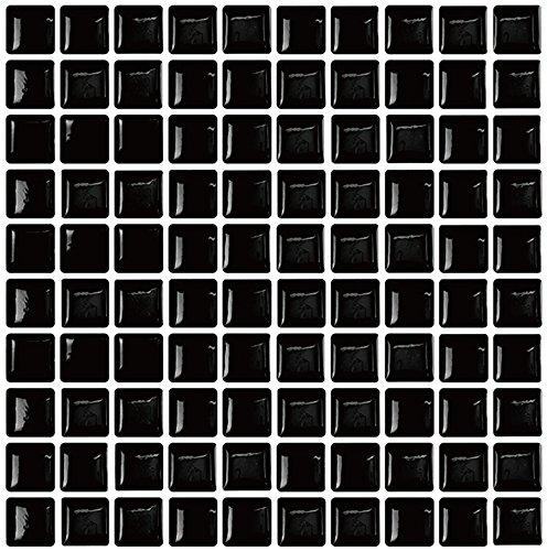 Remarkable Self-Adhesive Backsplash | Premium Peel and Stick Wall Tile for Kitchen,Black Decorative Tile Stickers(9
