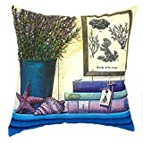 YOUR SMILE Oil Painting Vase Square Decorative Throw Pillows Case Cushion Covers Shell Cotton Linen Blend 18 X 18 Inches (Color#3)